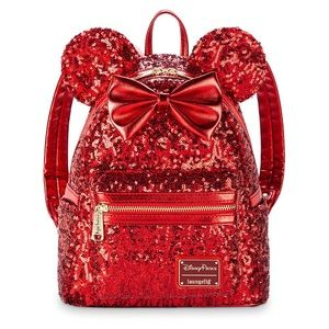 🆕 NWT Disney Loungefly Red Sequin Backpack